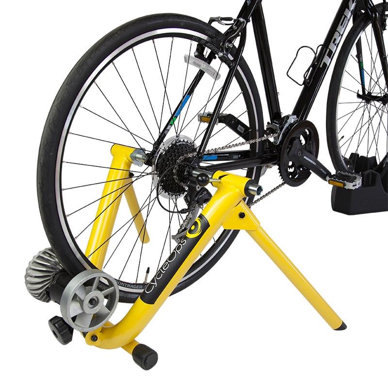 Cycleops Fluid Indoor Trainer yellow bike mounted