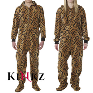 Tiger Print Adult Onesie All In One Footed Pajamas