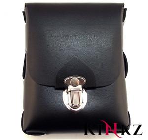 Black leather belt pouch size large bondage bdsm slave master fetish