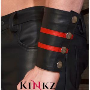 Leather gauntlet style armband wrist wallet bondage bdsm leather master fetish