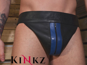 Black leather jock strap with coloured stripe and zip bondage bdsm fetish master slave gay jockstrap