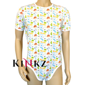 Cuddlz Safari Baby Animal Pattern Stretch Cotton Short Adult Onesie Bodysuit Romper Suit ABDL Fetish