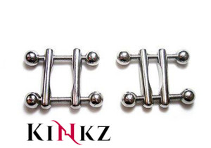 STAINLESS STEEL BALL END NIPPLE CLAMPS BDSM FETISH