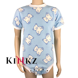 Cuddlz Blue Teddy Pattern fleece short onesie for adults ABDL clothing adult baby diaper lovers