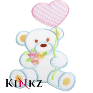 Large White Teddy With Pink Heart Iron / Sew On Motif or Patch for adult baby clothing ABDL