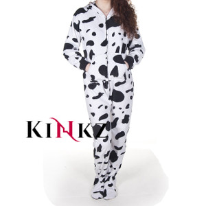 Cow Print onesie for adults with feet adult baby footed sleeper abdl onesies with feet
