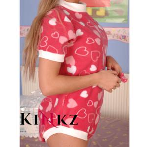 Pink Hearts Cuddlz lockable abdl adult onesie