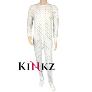 Cuddlz Polka Dot Pattern Stretch Cotton Footed Adult Sleepsuit Onesie