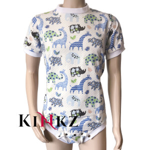 Cuddlz Blue adult baby safari pattern abdl onesie