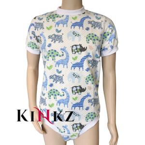 Blue Safari Pattern Wincyette Zipped Adult Onesie With Locking Zip Option