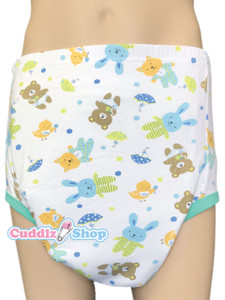 Cuddlz Teddy Pattern Padded Pull Up Cotton Pants for adults ABDL Adult Baby Diaper lovers