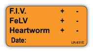 LR-631E Lab Result Sticker - F.I.V./FeLV/Heartworm test result
