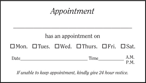 Vbc200 generic appointment card positive impressions for Appointment cards templates free