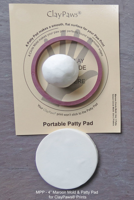 "MPP - 4"" Maroon Mold & Patty Pad for ClayPaws® Prints"