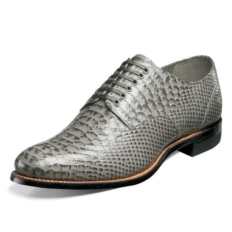 Stacy Adams Men's Madison Plain Toe Oxford - Gray Anaconda