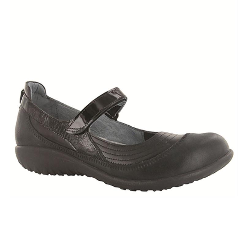 Naot Women's Kirei Wide - Black Madras Leather / Shiny Black / Black Patent