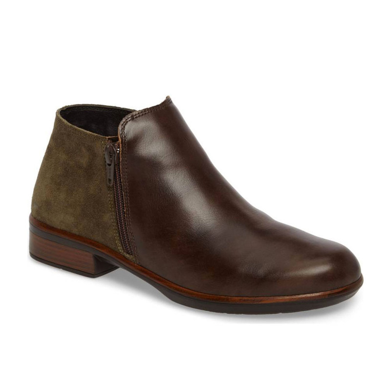 Naot Women's Helm - Pecan Brown Leather / Olive Oily Suede
