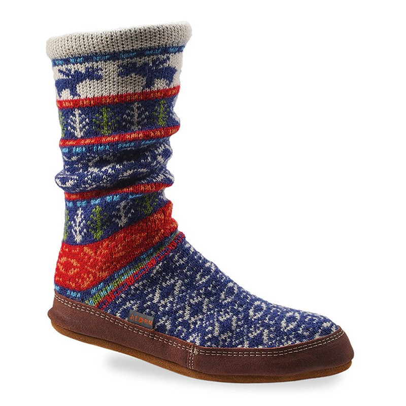 Acorn Unisex Slipper Socks - Maine Woods Jacquard