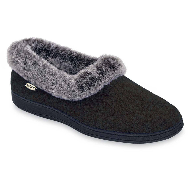 Acorn Women's Chinchilla Collar Slipper - Black