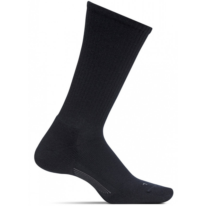 Feetures Men's Everyday Casual Rib Cushion Crew Socks - Black