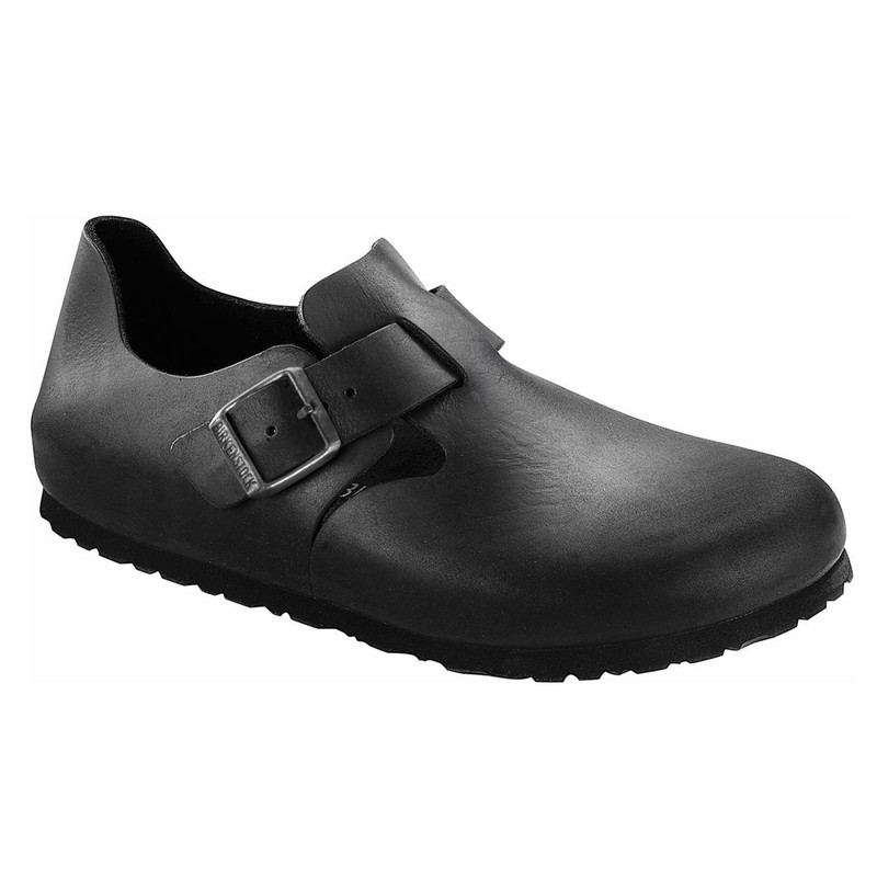 Birkenstock London Buckle - Black Smooth Leather (Regular Width)
