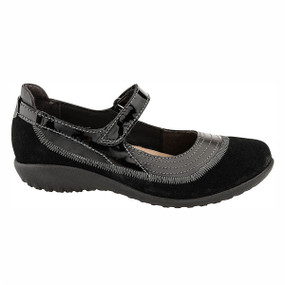 Naot Women's Kirei Wide - Black Madras / Black Suede / Black Patent Leather