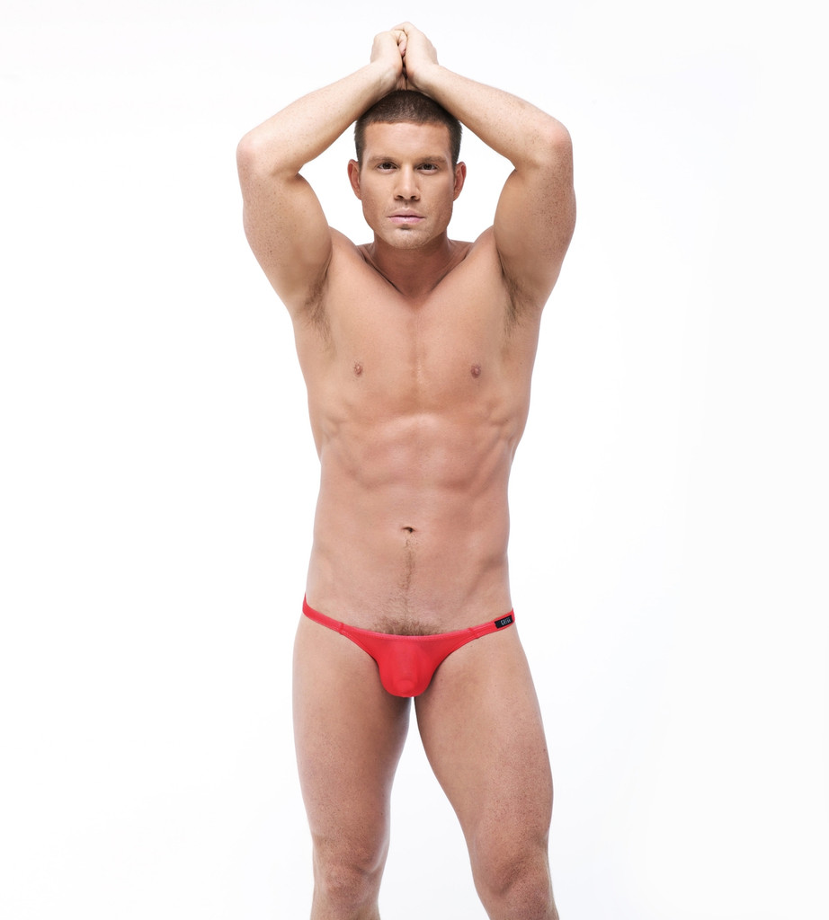 Front distance view of red Torrid thong by Gregg Homme