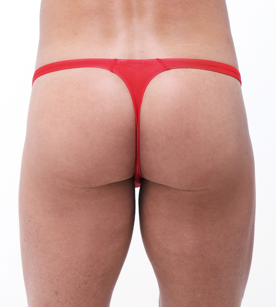 Rear view of red Torrid thong by Gregg Homme