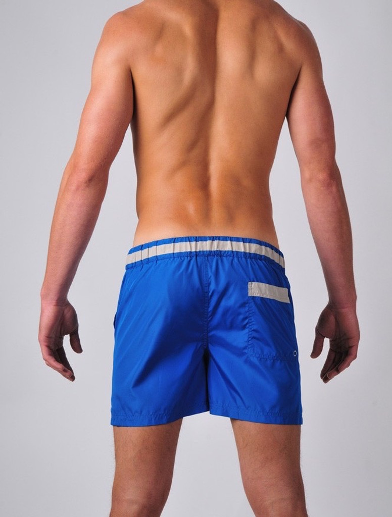 Men's Swim Shorts - Rear view of 2eros Icon 2 Swimshorts in marine blue – Stylish swim shorts for the beach or summer festivals.