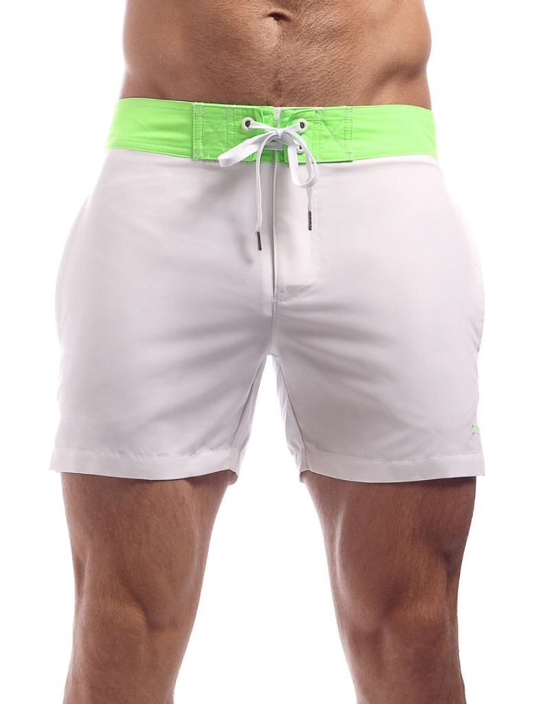 Men's Swim Shorts - Front view Cocksox CSX Retro Boardshort in cool white – Stylish slim fitting mid-thigh board shorts for the beach or club.