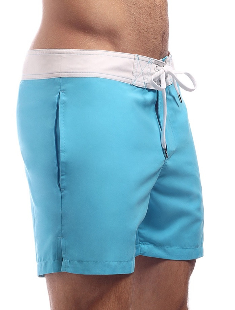 Men's Swim Shorts - Side view Cocksox CSX Retro Boardshort in endless blue – Stylish slim fitting mid-thigh board shorts for the beach or club.