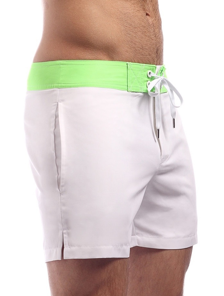Men's Swim Shorts - Side view Cocksox CSX Retro Boardshort in cool white – Stylish slim fitting mid-thigh board shorts for the beach or club.