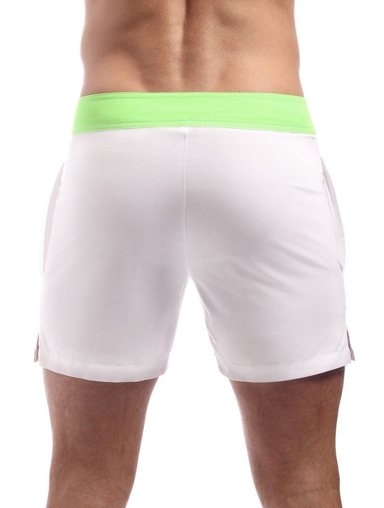 Men's Swim Shorts - Rear view Cocksox CSX Retro Boardshort in cool white – Stylish slim fitting mid-thigh board shorts for the beach or club.