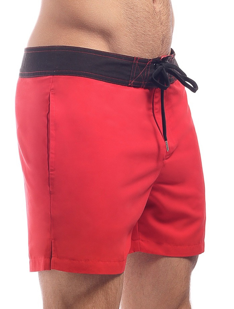 Men's Swim Shorts - Side view Cocksox CSX Retro Boardshort in kahuna red – Stylish slim fitting mid-thigh board shorts for the beach or club.
