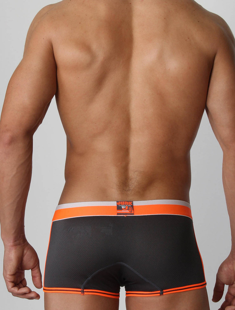 Men's boxer trunk - Rear view of charcoal grey Debut Trunk by Junk Underjeans