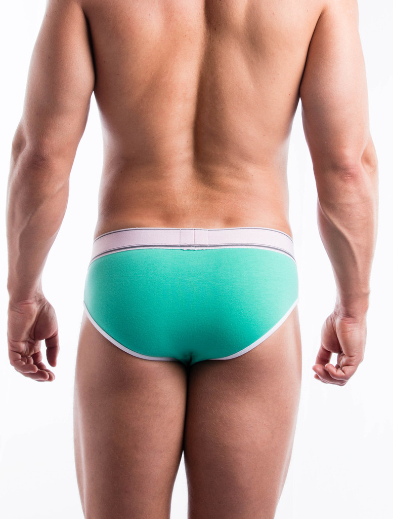 Men's Briefs - Rear view of green Sports Day Brief by FIT-IN1