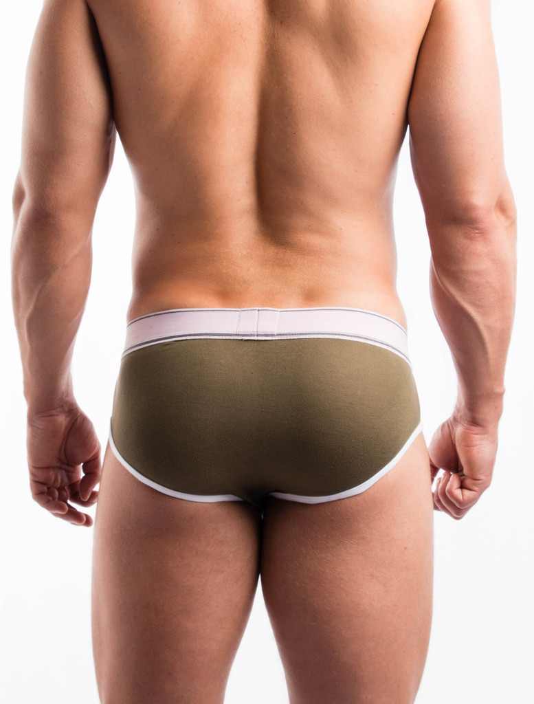 Men's Briefs - Rear view of olive Sports Day Brief by FIT-IN1