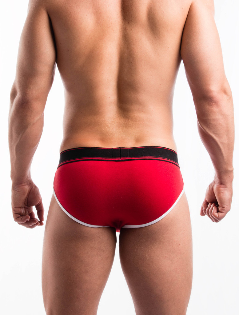Men's Briefs - Rear view of red Sports Day Brief by FIT-IN1