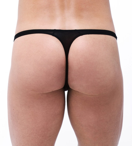 Rear view of black Torrid thong by Gregg Homme