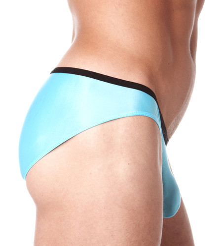 Side view of sky blue Voyeur brief by Gregg Homme