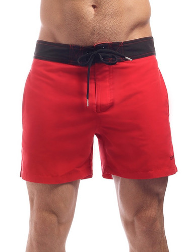 Men's Swim Shorts - Front view Cocksox CSX Retro Boardshort in kahuna red – Stylish slim fitting mid-thigh board shorts for the beach or club.