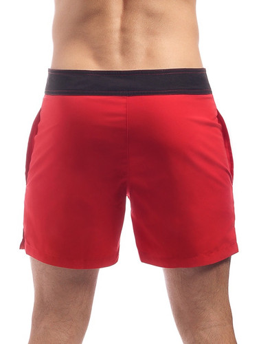 Men's Swim Shorts - Rear view Cocksox CSX Retro Boardshort in kahuna red – Stylish slim fitting mid-thigh board shorts for the beach or club.