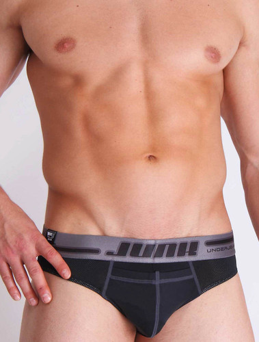Men's briefs - Front view of black Drill Brief by Junk Underjeans