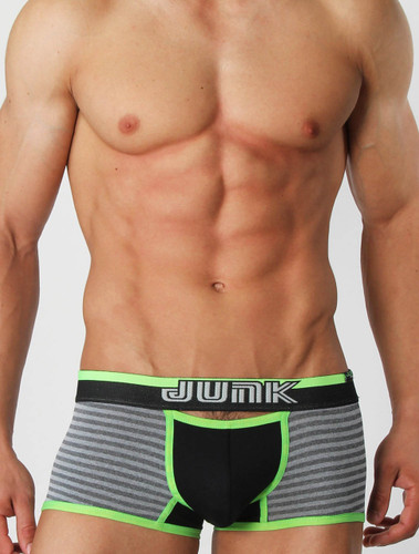 Men's underwear trunk - Front view of green Heist trunk by Junk Underjeans