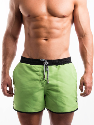 Men's Swim Shorts - Front view of green swim shorts by FIT-IN1