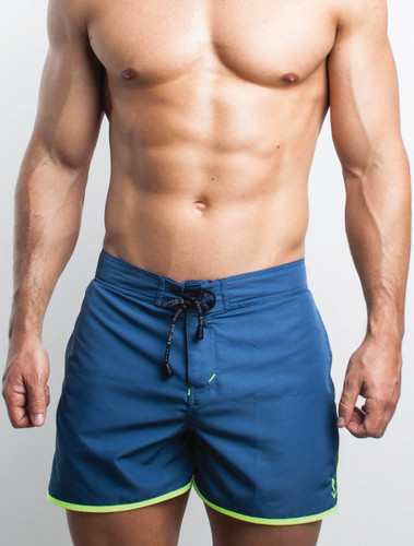Men's Swim Shorts - Front view of petrol blue Solid Swim Shorts by FIT-IN1