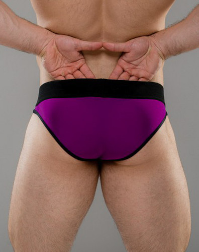 Men's Briefs - Rear view of Boysenberry U Brief with revealing U panel by Sukrew