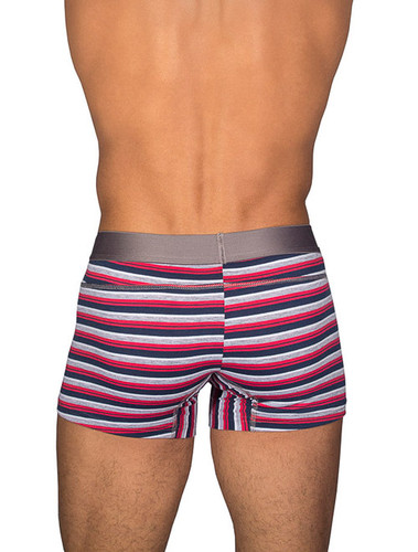 Men's Boxers - Front view of red stripe package lift boxer brief by Rounderbum