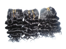 Brazilian Human Hair Jerry Curl Weave Track Natural Black (3 pieces) 300g