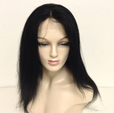"14"" Full Lace Wig Indian Remy Human Hair Yaki Silk Top Medium Cap"